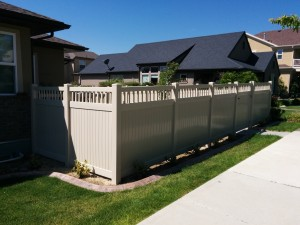 5a. Picket Top Vinyl Fence, Tan